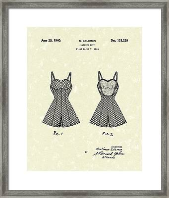 Bathing Suit 1940 Patent Art Framed Print by Prior Art Design