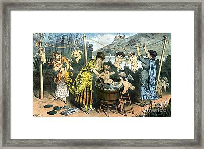 Bathing Their Little Angels, 1883 Framed Print by Science Source