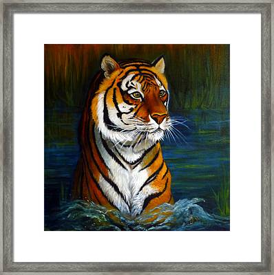 Bathing Tiger Framed Print by Janet Silkoff