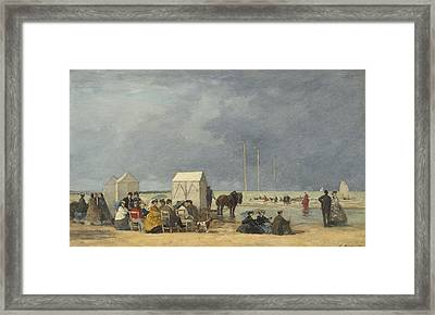 Bathing Time At Deauville Framed Print by Eugene Boudin