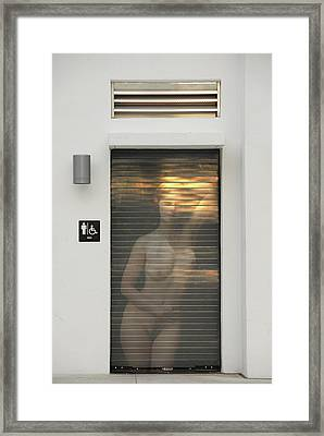 Bathroom Door Nude Framed Print
