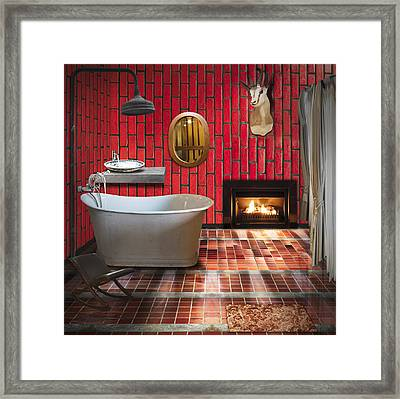 Bathroom Retro Style Framed Print