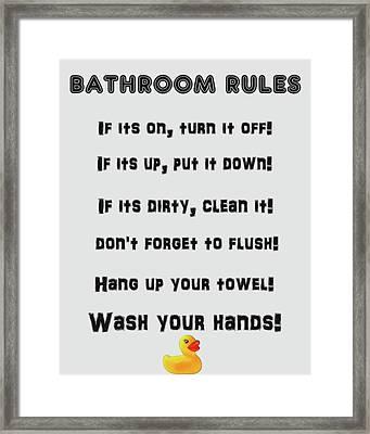 Bathroom Rules Framed Print by Dan Sproul