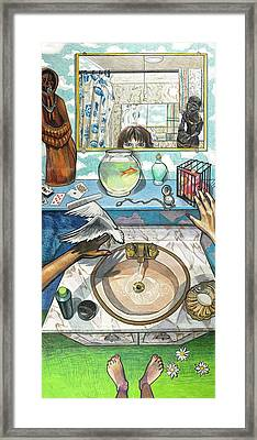 Bathroom Self Portrait Framed Print