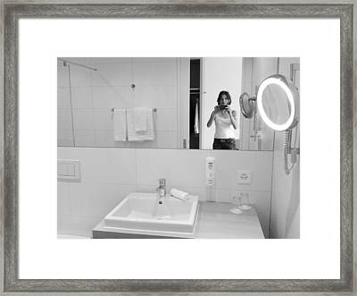 Bathroom Selfie Framed Print