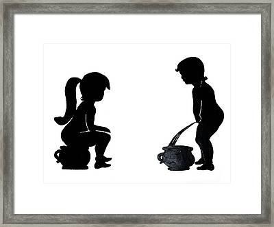 Bathroom Silhouettes Framed Print