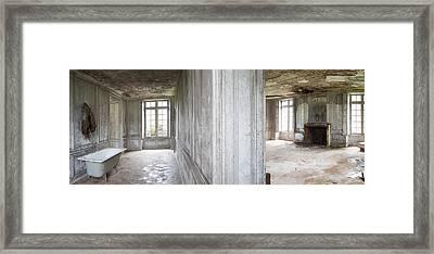 Bathroom Tub In Deserted Chateau - Urban Exploration  Framed Print by Dirk Ercken