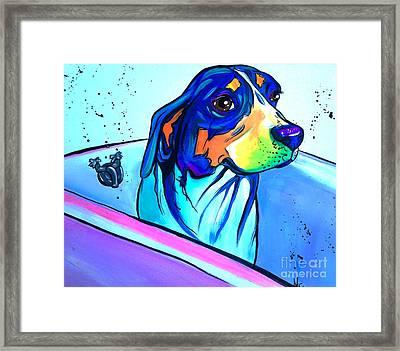 Bathtub Beagle Framed Print
