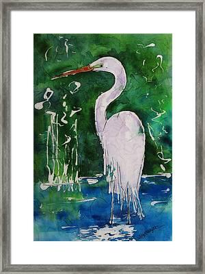 Batik Egret Framed Print