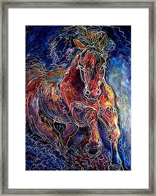 Batik Equine Abstract  Powerful By M Baldwin Framed Print