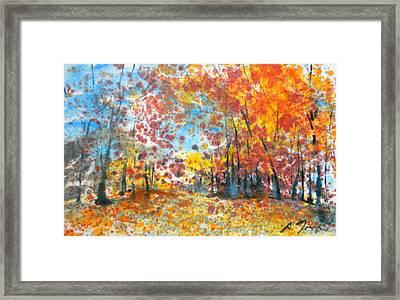 Batik Style/new England Fall-scape L-no.1 Framed Print