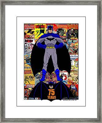 Batman 75 Framed Print by Mista Perez Cartoon Art
