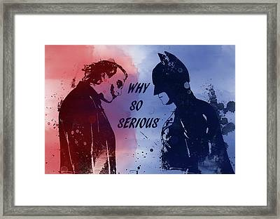 Batman And Joker Framed Print