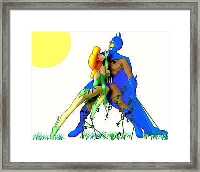 Batman And Poison All Tied Up Framed Print