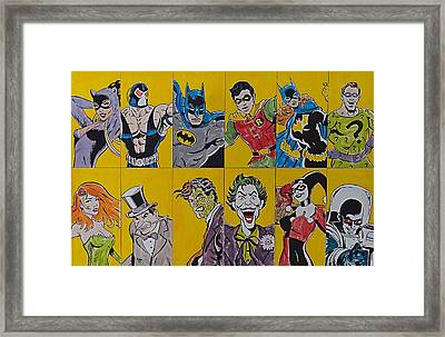 Batman And The Gang Framed Print by James Holko