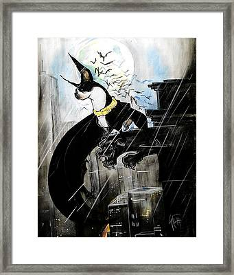 Batman Boston Terrier Caricature Art Print Framed Print