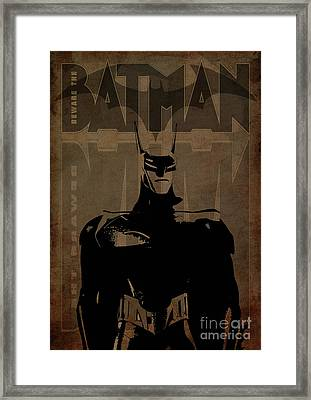 Batman Brown - Logo Bat Framed Print by Prar Kulasekara