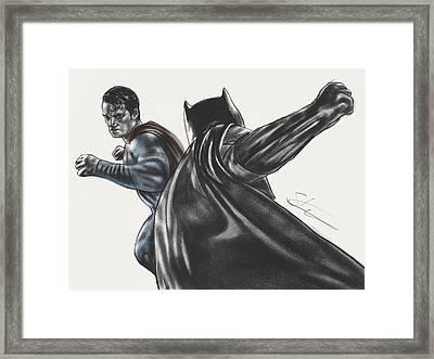 Batman Vs Superman Dawn Of Justice Framed Print by Scott Strachan