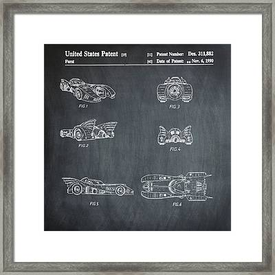 Batmobile 1990 Patent In Chalk Framed Print by Bill Cannon