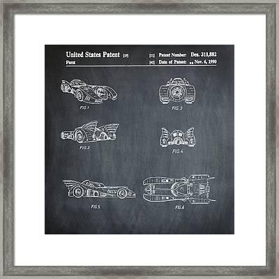 Batmobile 1990 Patent In Chalk Framed Print