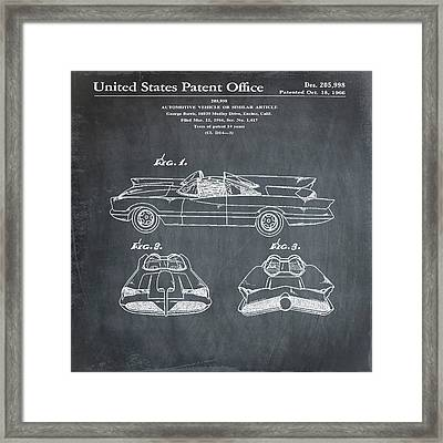 Batmobile Patent 1966 In Chalk Framed Print by Bill Cannon