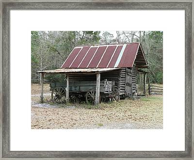 Battered Barn And Weathered Wagon Framed Print by Al Powell Photography USA