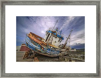 Framed Print featuring the photograph Battered Boat by Roman Kurywczak
