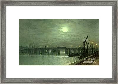 Battersea Bridge By Moonlight Framed Print by John Atkinson Grimshaw