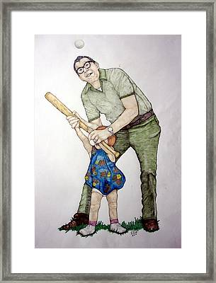 Batting Practice No 1 Framed Print by Edward Ruth