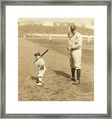 Batting With The Babe Framed Print by Padre Art