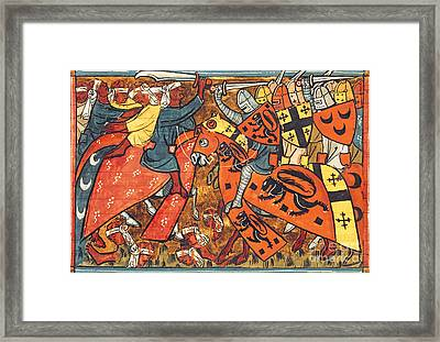Battle Between Crusaders And Muslims Framed Print by French School
