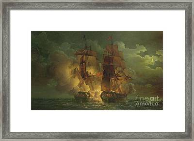 Battle Between The Arethuse And The Amelia Framed Print by Louis Philippe Crepin