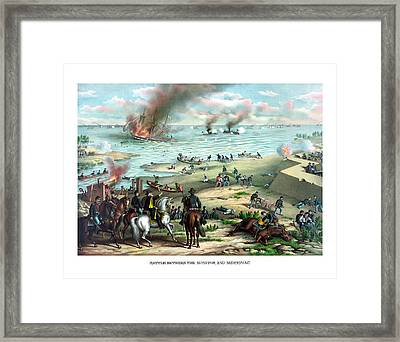 Battle Between The Monitor And Merrimac Framed Print