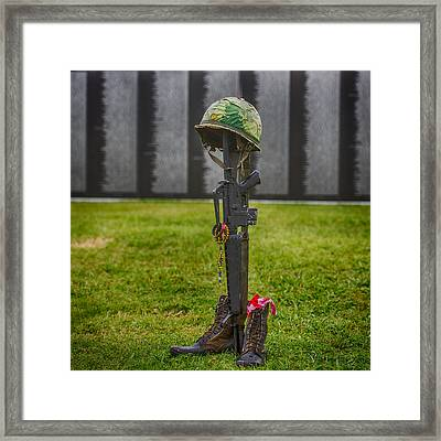 Battle Field Cross At The Traveling Wall Framed Print