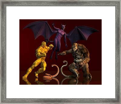 Battle Of Good Vs Evil Framed Print by Carlos Diaz