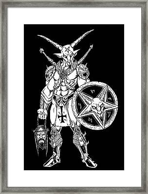 Battle Goat Black Framed Print
