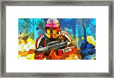 Battle In The Forest - Pa Framed Print by Leonardo Digenio