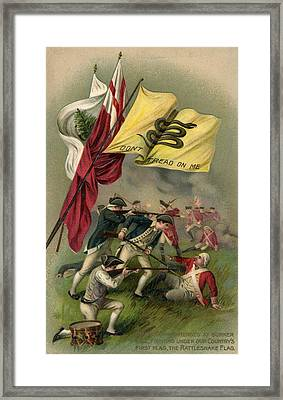 Battle Of Bunker Hill With Gadsden Flag Framed Print by American School