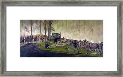 Battle Of Gettysburg, Culps Hill, 1863 Framed Print by Science Source