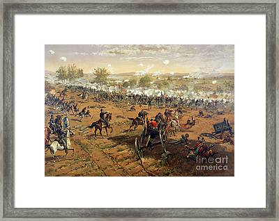 Battle Of Gettysburg Framed Print by Thure de Thulstrup