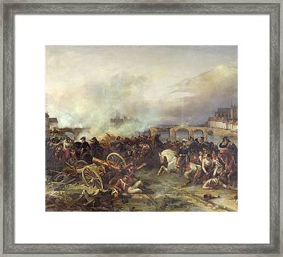 Battle Of Montereau Framed Print by Jean Charles Langlois