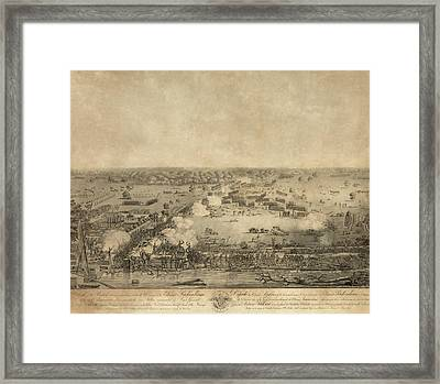 Battle Of New Orleans. The British Framed Print by Everett