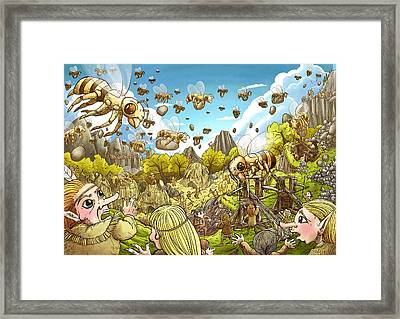 Battle Of The Bees Framed Print