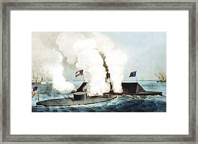 Battle Of The Monitor And Merrimack Framed Print