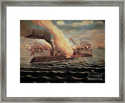 Battle Of The Monitor And The Merrimack Framed Print by American School