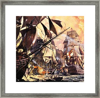 Battle Of Trafalgar Framed Print by English School