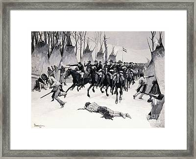 Battle Of Washita Framed Print by Frederic Remington