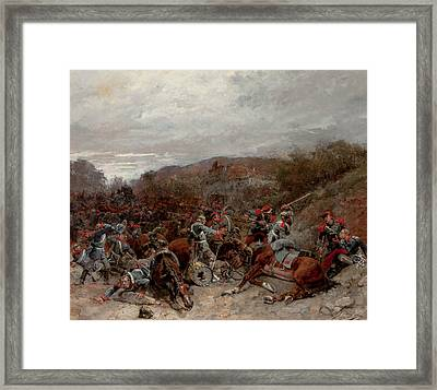 Battle Scene From The Franco-prussian War Framed Print by Wilfrid Constant Beauquesne