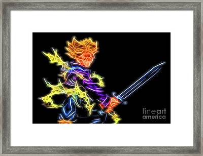 Framed Print featuring the digital art Battle Stance Trunks by Ray Shiu