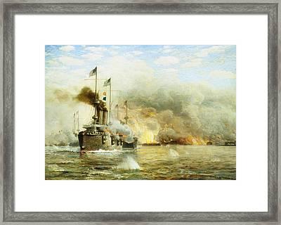 Battleships At War Framed Print by James Gale Tyler